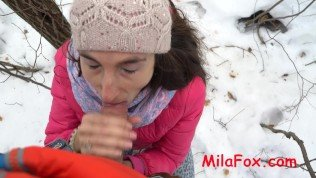 Milking Tits and swallow cum in the cold. MilaFox.com